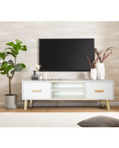 Mahmayi 301 Modern TV Table Stand with Storage Unit - White