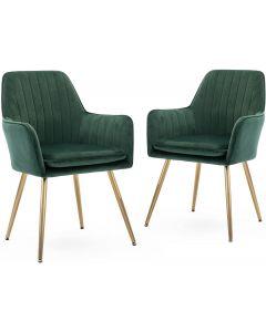 Mahmayi HYDC031G Velvet Dining Chair with Golden Metal Legs - Green (Pack of 2)