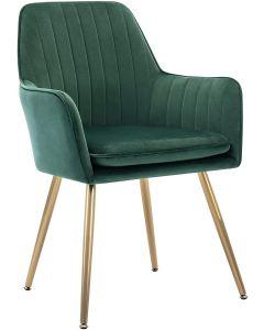 Mahmayi HYDC031G Velvet Dining Chair with Golden Metal Legs - Green