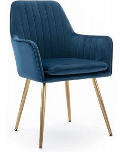 Mahmayi HYDC031G Velvet Dining Chair with Golden Metal Legs - Blue