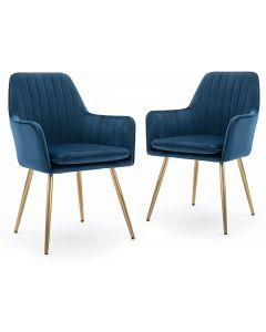 Mahmayi HYDC031G Velvet Dining Chair with Golden Metal Legs - Blue (Pack of 2)
