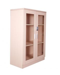 Carre 120 Oak Medium Height Cabinet with Digital Lock