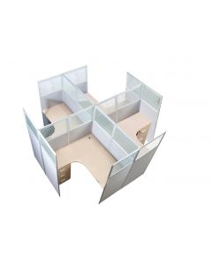 Dela GT20 160 Height Glass 120x120 Cross Partition Workstation-Panel Concept Oak