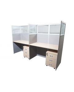 Dela GT20 160 Height Glass 120x60 T Shape Partition Workstation-Panel Concept Oak
