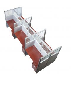 Enva GT60 160 Height Glass 120x60 6 Person Partition Workstation-Panel Concept Apple Cherry