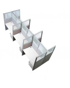 Enva GT60 160 Height Glass 120x60 6 Person Partition Workstation-Panel Concept White