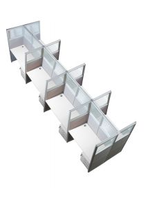 Enva GT60 160 Height Glass 120x60 8 Person Partition Workstation-Panel Concept White