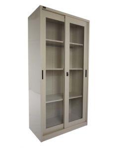 Godrej OEM Glass Sliding Door Steel Bookshelf Beige