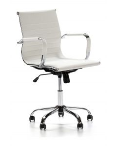 Ultimate 031L Eames Replica Ribbed PU Chrome Lowback Chair - White