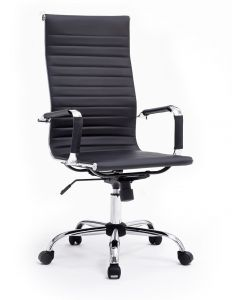 Ultimate 031H Eames Replica Ribbed PU Chrome Highback Chair