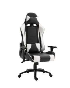 Gumi 09854 High Back Black & White Video Gaming Chair with PU Leatherette